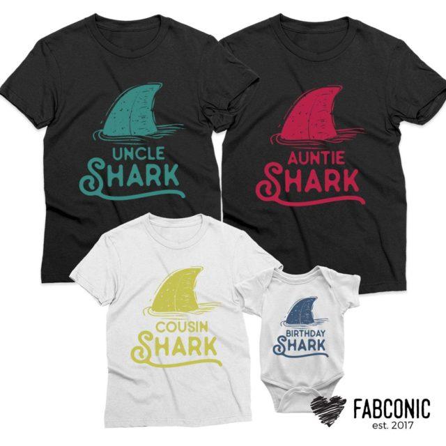 Birthday Shark Daddy Shark Mommy Shark, Pastel Sharks, Family Shirts