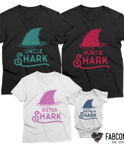 Birthday Shark Daddy Shark Mommy Shark, Pastel Sharks, Family Shirts