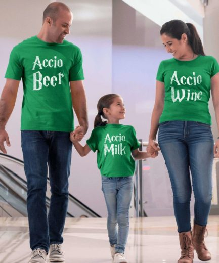 St. Patrick's Day Funny Family Shirts, Accio Beer, Accio Wine, Accio Milk, Family Shirts