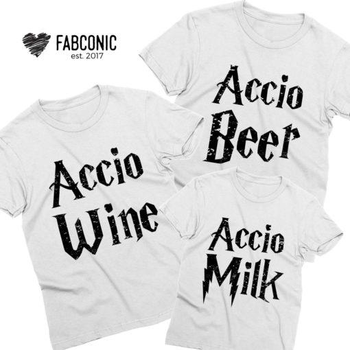 Accio Family Shirts, Accio Beer, Accio Wine, Accio Milk, Family Shirts