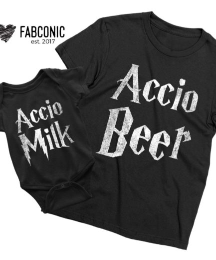 Accio Beer Accio Milk Shirts, Matching Father & Kid Shirts