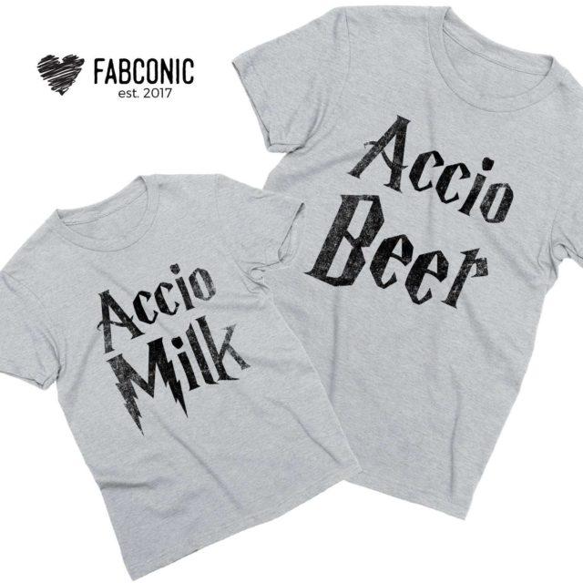 Accio Beer Accio Milk Shirts, Matching Father & Kid Shirts