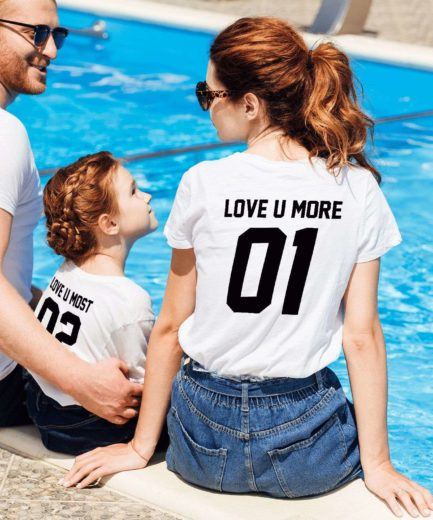 Matching Mom Kid Shirts, Love U More 01, Love U Most 02, Mother & Kid Shirts