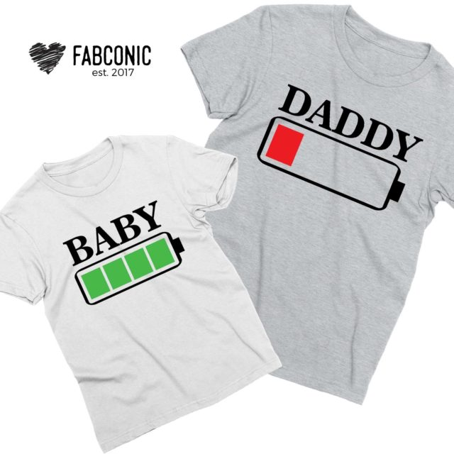 Battery Low Battery Full Shirts, Daddy and Baby, Father & Kid Shirts