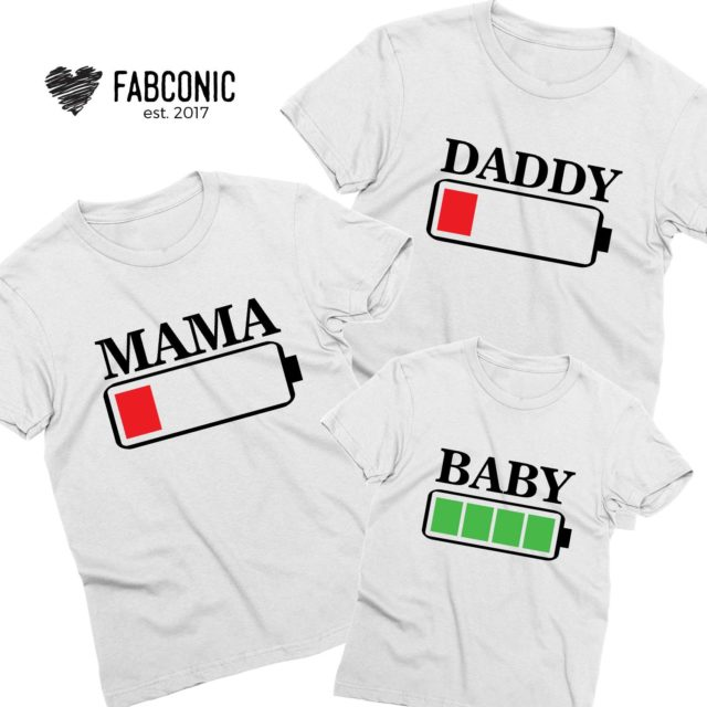 Mommy Daddy Baby Battery Shirts, Family Battery Full Battery Low Shirts