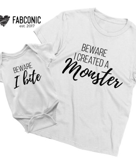 Beware I created a monster shirt, Beware I bite, Halloween shirts