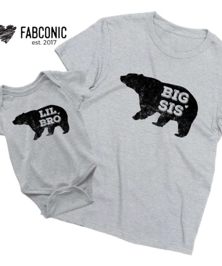 Big Sister Little Brother Shirts, Bear, Siblings Shirts,Matching Big Bro Lil Sis