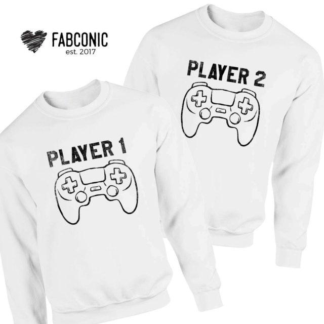 Player 1 Player 2 Sweatshirts, Matching Couple Sweatshirts, Gift for Couples