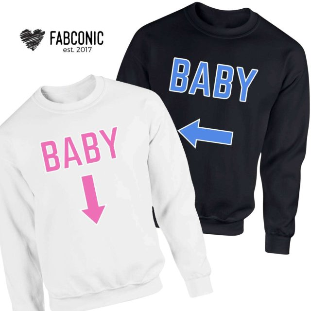 Pregnancy Announcement Sweatshirts, Baby Arrows, Family Sweatshirts