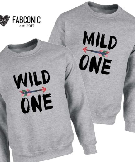Wild One Mild One Sweatshirts, Family Sweatshirts, Matching Crewnecks