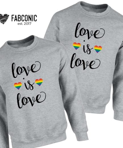Love is Love Couple Sweatshirts, Matching Sweatshirts, LGBT Sweatshirts