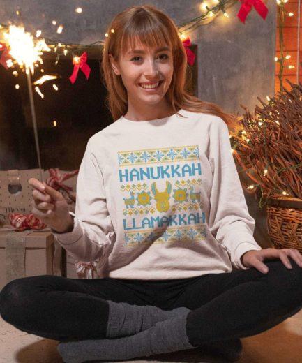 Hanukkah Llamakkah Funny Sweatshirt, Family Sweatshirts, Hanukkah Outfit