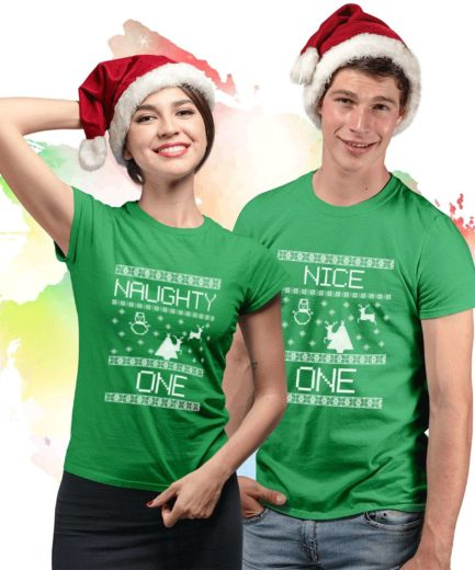 Couple Christmas Shirts, Naughty Nice Couple Shirts, Christmas Gift for Boyfriend