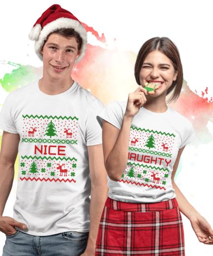 Naughty Nice Christmas Shirts, Christmas Pixels, Couple Shirts