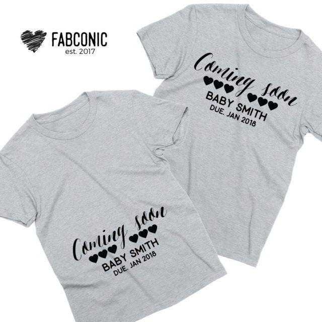 Coming Soon Custom Shirts, Baby Name, Custom Name and Year, Couple Shirts