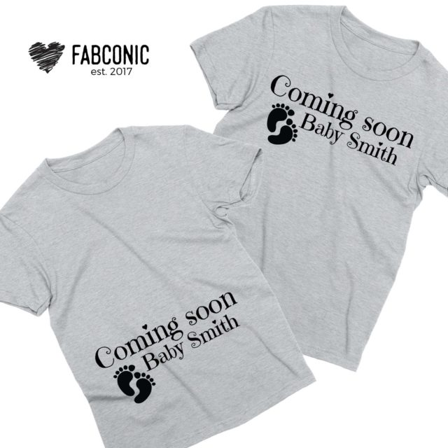 Custom Pregnancy Reveal Shirts, Coming Soon Baby Name