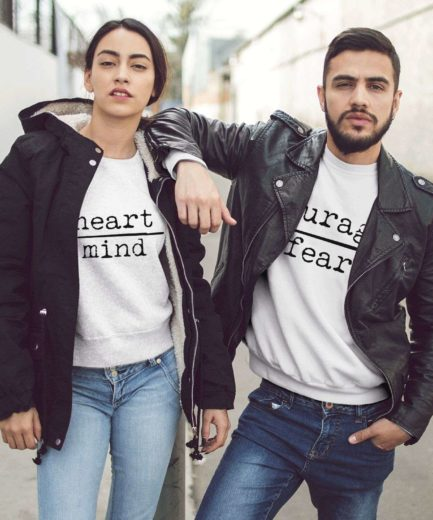 Anniversary Couple Sweatshirts, Heart over Mind, Courage over Fear