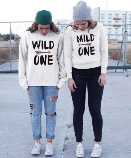 Mild One Wild One BFF Sweatshirts, Best Friends Sweatshirts