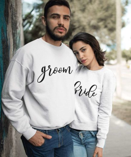 Bride Groom Sweatshirts, Couple Sweatshirts, Anniversary Outfit for Couples