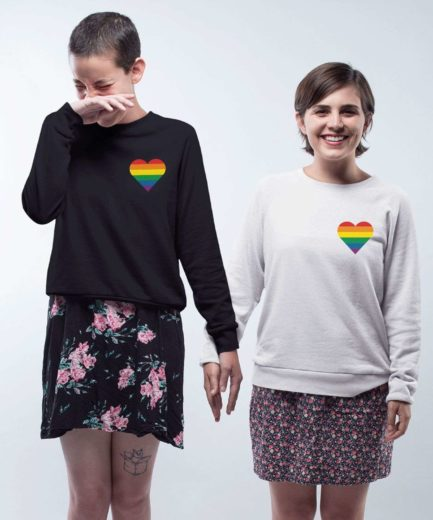 LGBT Pride Sweatshirt, Rainbow Heart Pocket, Matching Couple Sweatshirts