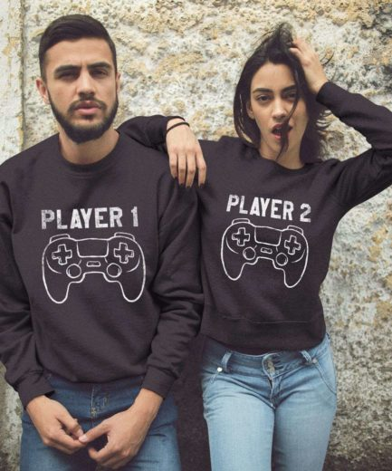 Player 1 Player 2 Sweatshirts, Matching Couple Sweatshirts, Gift for Couples