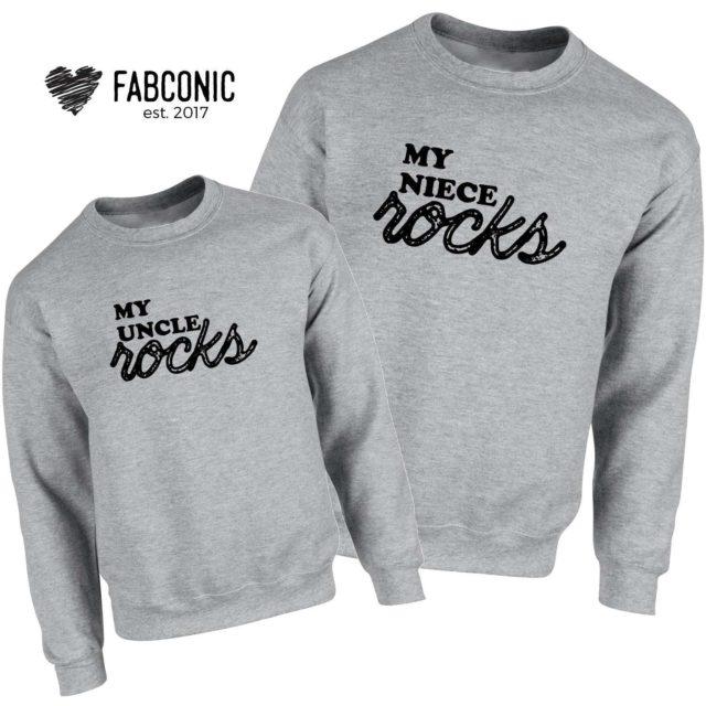 Uncle Niece Sweatshirts, My Uncle Rocks My Niece Rocks, Family Sweatshirts