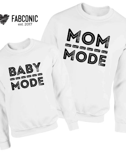 Mom Mode Baby Mode Sweatshirts, Family Sweatshirts, Funny Mother's Gift