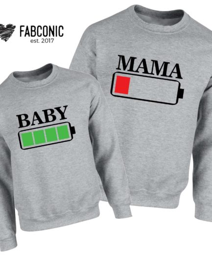 Mama Baby Battery Sweatshirts, Battery Full, Battery Empty, Family Sweatshirts