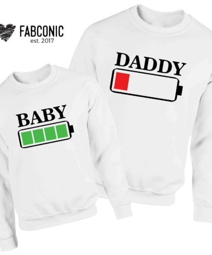 Daddy Baby Battery Sweatshirts, Battery Full, Battery Empty, Family Sweatshirts