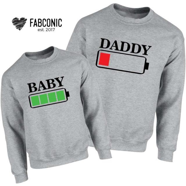 Daddy Baby Battery Sweatshirts, Battery Full, Battery Empty, Family Sweatshirts