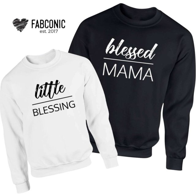 Blessed Mama Little Blessing Sweatshirts, Family Sweatshirts, Mommy and Me