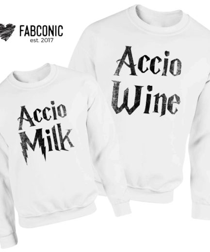 Accio Milk Accio Wine Sweatshirts, Family Sweatshirts, Funny Accio Sweatshirts