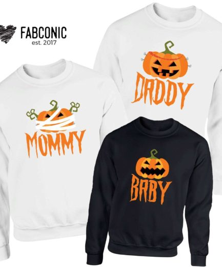 Halloween Pumpkin Sweatshirts, Mommy Daddy Baby Pumpkin, Family Sweatshirts