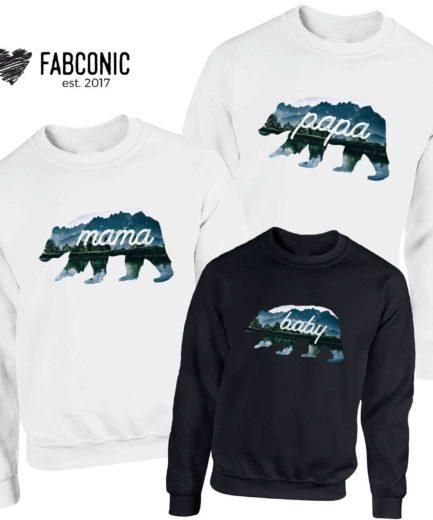 Mama Bear Papa Bear Baby Bear Sweatshirts, Family Sweatshirts, Bear Family