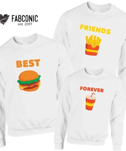 Best FriendsForeverFamily Sweatshirts, Burger Fries Coke, Matching Sweatshirts