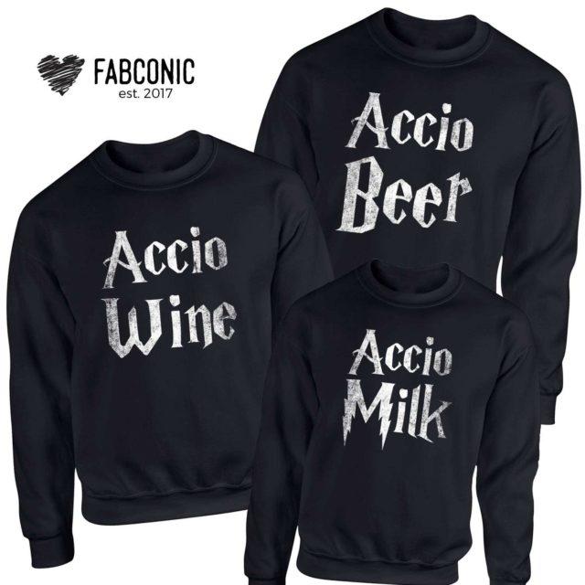 Accio Beer Wine Milk Sweatshirts, Family Sweatshirts, Funny Accion Crewneck
