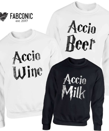 Accio Beer Wine Milk Sweatshirts, Family Sweatshirts, Funny Accion Crewneck