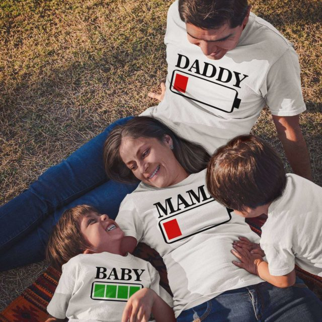 Battery Full Battery Low Shirts, Mommy Daddy Baby, Family Shirts