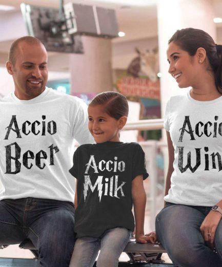 Accio Beer Accio Wine Accio Milk, Matching Family Shirts