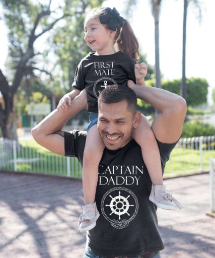 Fathers Day Gift, Captain Daddy, First Mate, Father & Kid Shirts