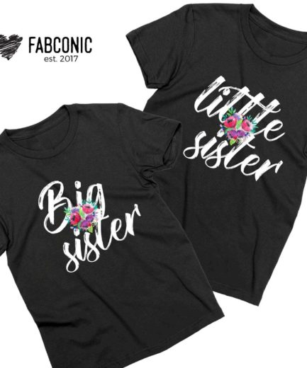 Matching Sister Shirts, Big Sister, Little Sister, Flowers, Siblings Shirts