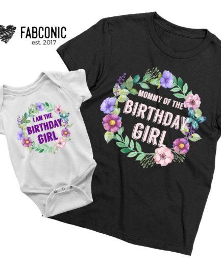Mommy Baby Birthday Shirts, I am the Birthday Girl, Mommy of the Birthday Girl