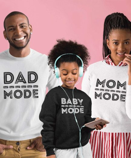 Mom Dad Kid Mode Sweatshirts, Family Sweatshirts, Funny Family Gift