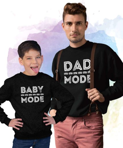 Dad Mode Baby Mode Sweatshirts, Family Matching Sweatshirts, Gift for Dad