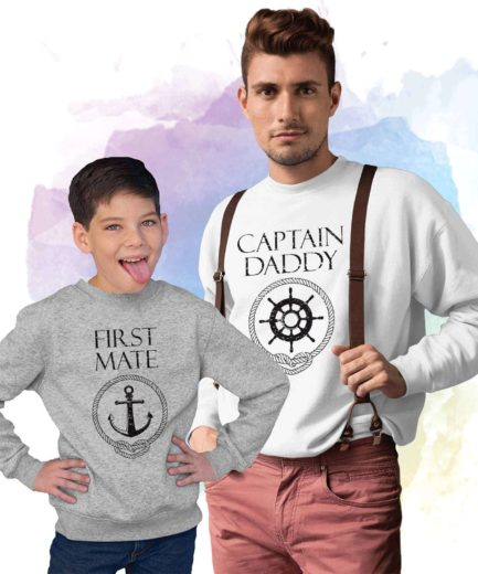 Captain Daddy First Mate Sweatshirts, Family Matching Sweatshirts, Father's Day Gift