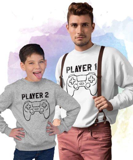 Player 1 Family Sweatshirts, Matching Sweatshirts, Player 1, Player 2