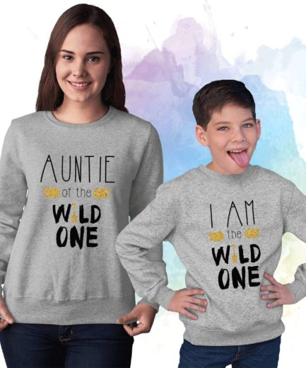 Auntie Niece Sweatshirts, Auntie of the Wild One, I am the Wild One, Family Sweatshirts