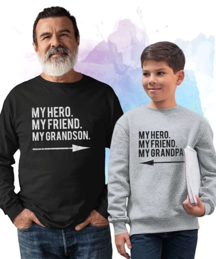 Grandpa Father's Day Gift, My Hero My Grandpa My Grandson, Family Sweatshirts