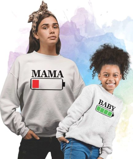 Mama Baby Battery Sweatshirts, Battery Full, Battery Empty, Family Sweatshirts