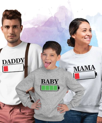 Mama Daddy Baby Battery Sweatshirts, Battery Empty, Battery Full, Family Sweatshirts